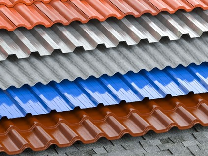 Different colours of metal roofing shingles