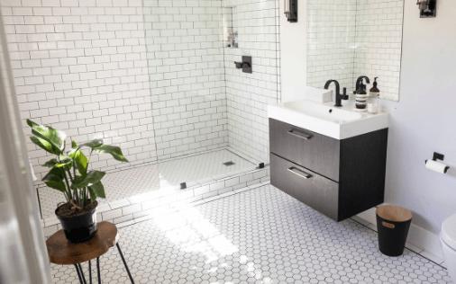 modern bathroom with plant