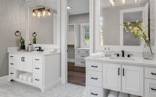two white vanities