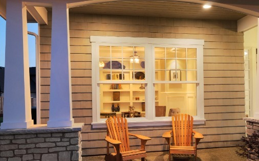 wood siding on house with window