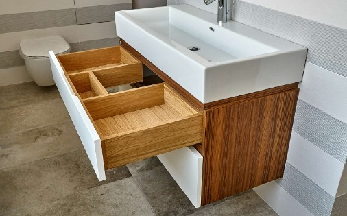wooden vanity with drawer